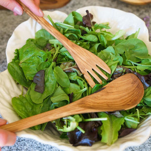 Olive Wood Thin Salad Servers or Kitchen Utensils