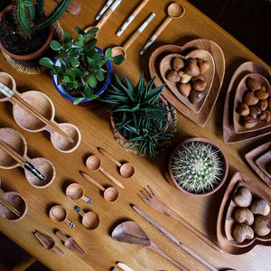 Olive Wood & Bone Picnic Set