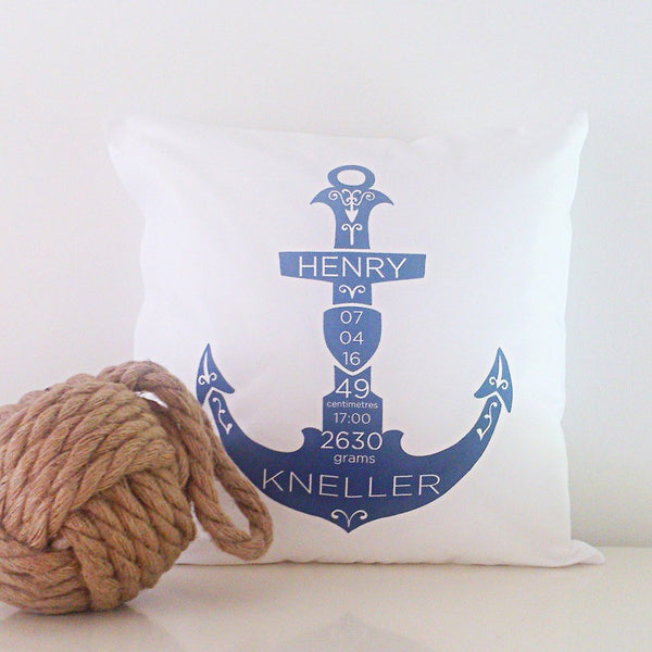 Birth Details Cushion - Anchor Design