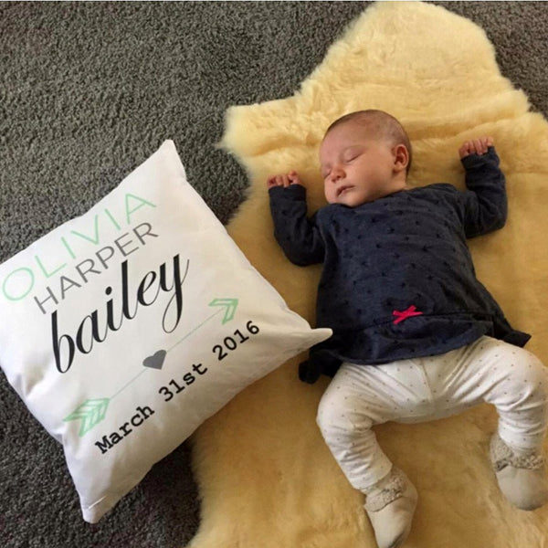 Birth Details Cushion - Arrow Design