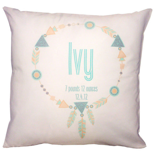 Birth Details Cushion - Aztec Wreath Design