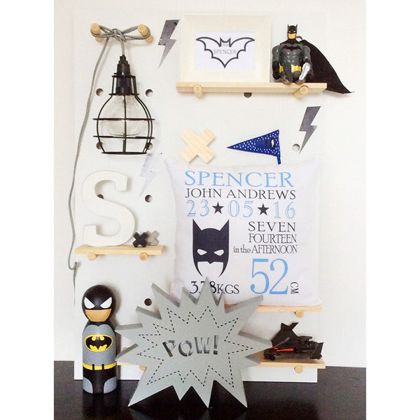 Birth Details Cushion - Batman Design