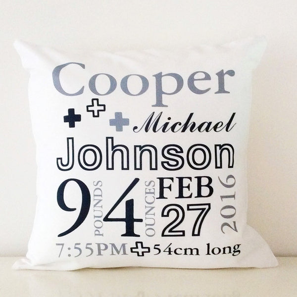 Birth Details Cushion - Crosses Design
