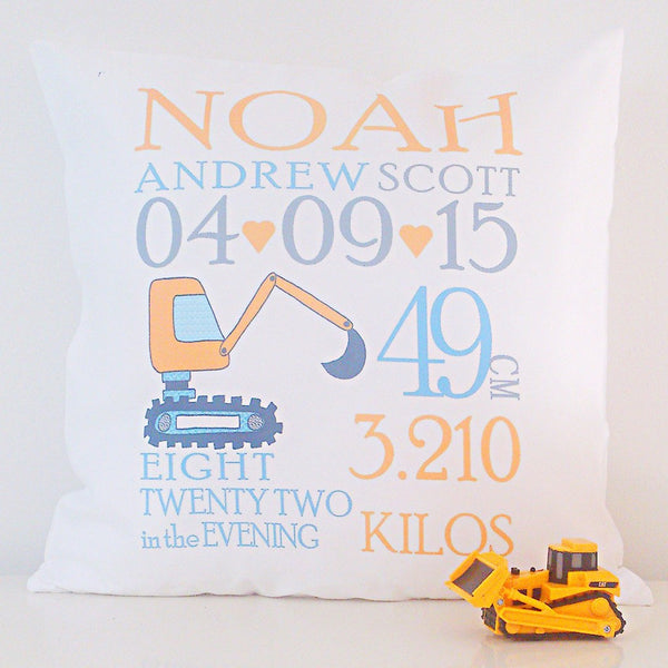 Birth Details Cushion - Digger Design