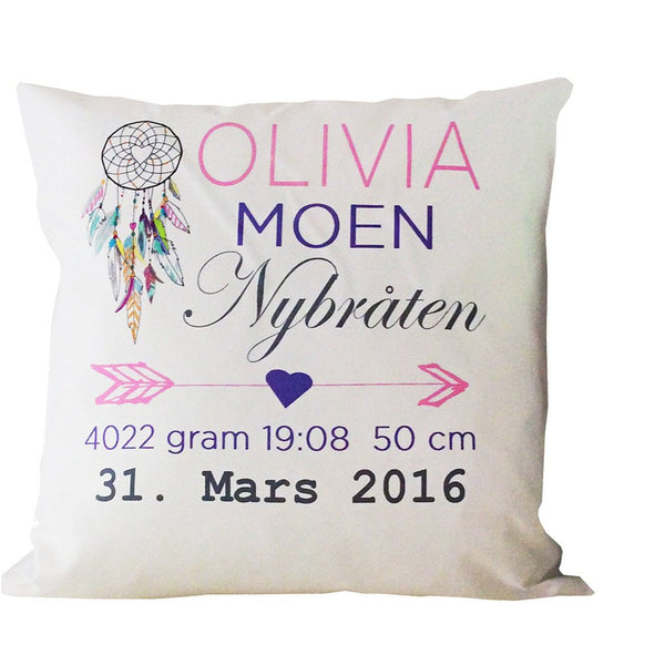 Birth Details Cushion - Dreamcatcher Arrow Design