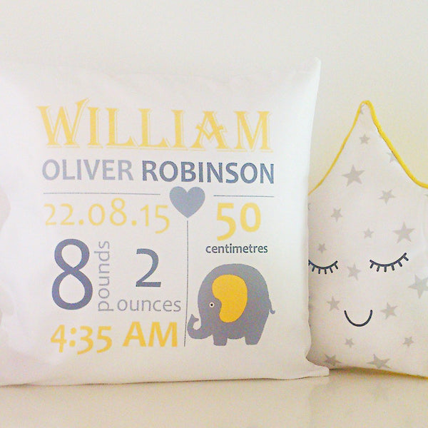 Birth Details Cushion - Elephant Design