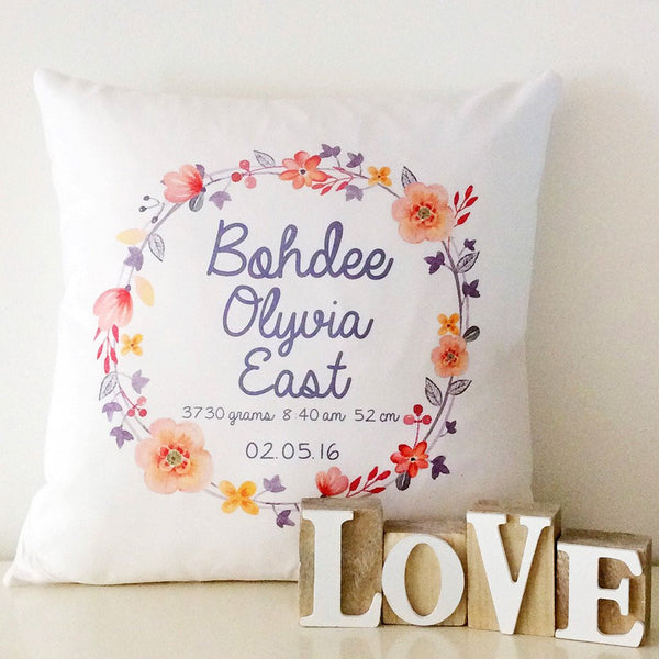 Birth Details Cushion - Floral Wreath Design