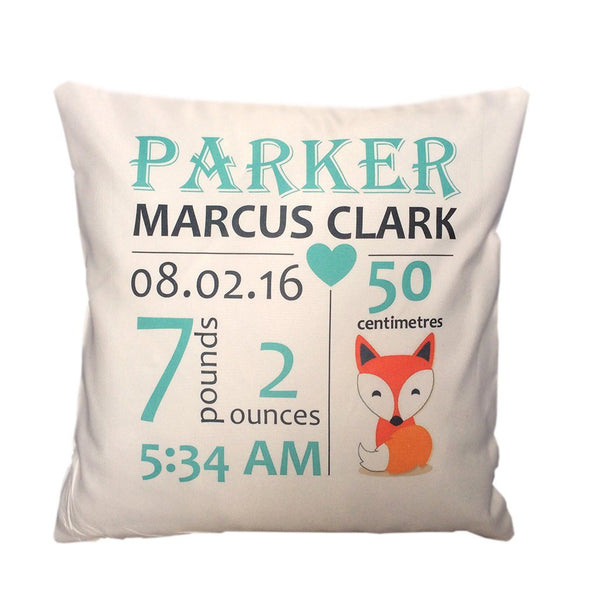 Birth Details Cushion - Fox Design