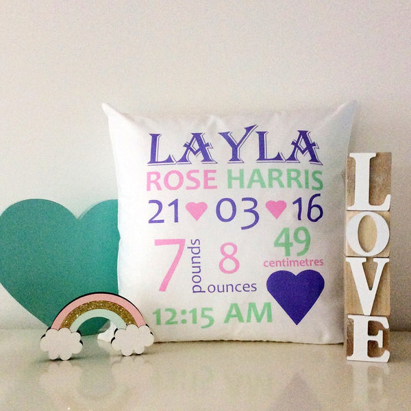Birth Details Cushion - Hearts Design