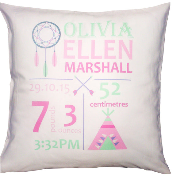 Birth Details Cushion - Indian Dreamcatcher Design