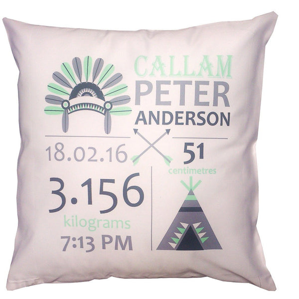 Birth Details Cushion - Indian Headdress Design