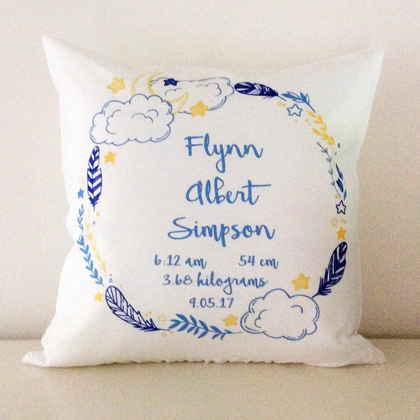 Birth Details Cushion - Night Time Wreath Birth Details Design