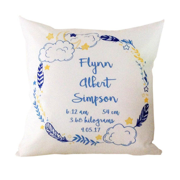 Birth Details Cushion - Night Time Wreath Design