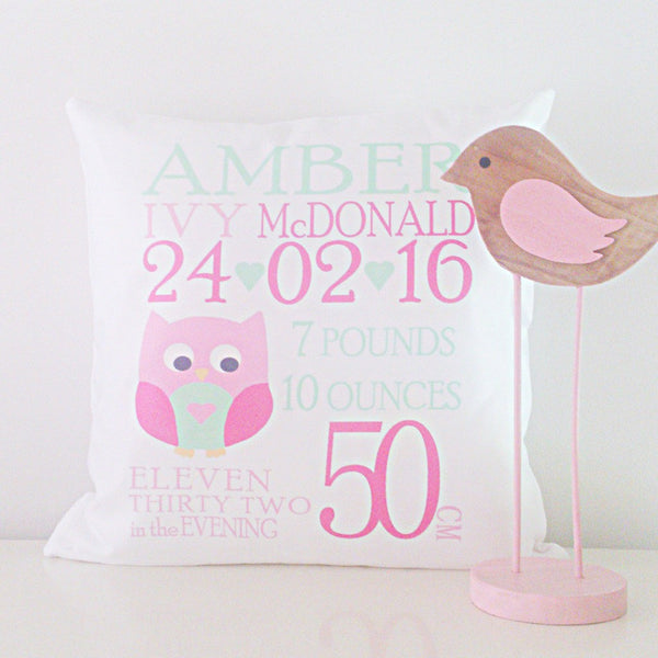 Birth Details Cushion - Owl Design