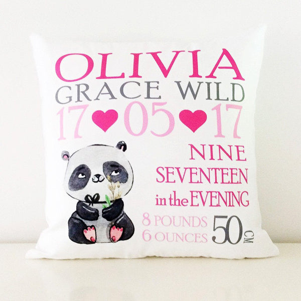 Birth Details Cushion - Panda Design