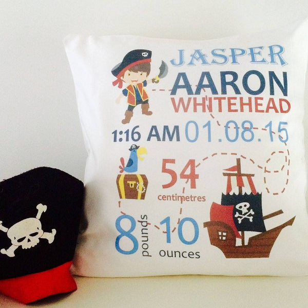 Birth Details Cushion - Pirate Design