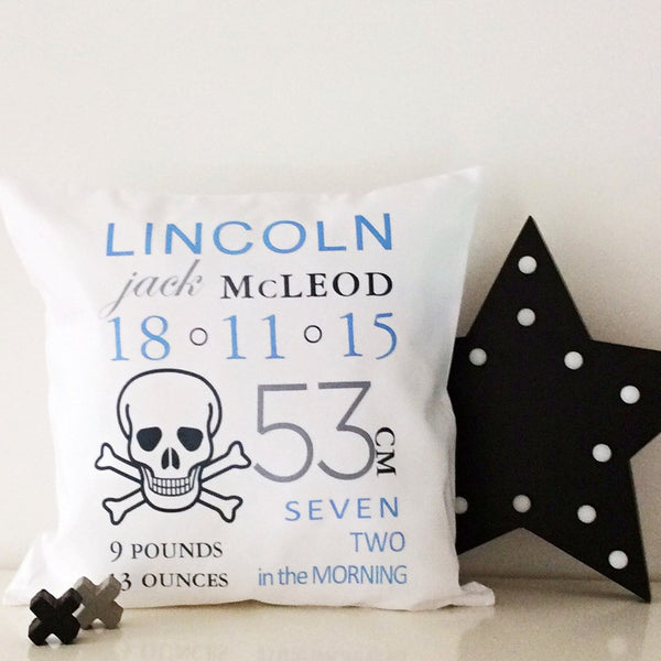 Birth Details Cushion - Skull Design