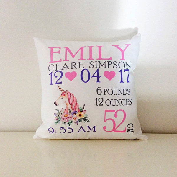 Birth Details Cushion - Unicorn Design