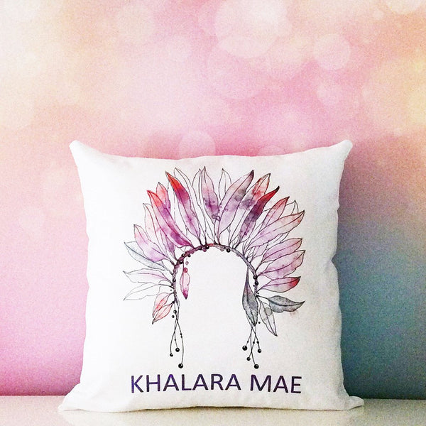 Personalised Name Cushion - Headdress Design