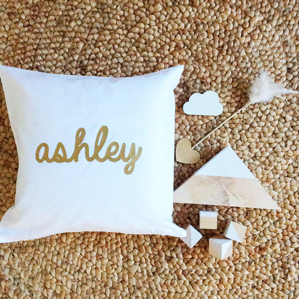 Personalised Name Cushion - Metallic Design