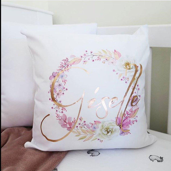 Personalised Name Cushion - Metallic Floral Wreath Design