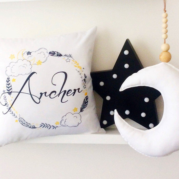Personalised Name Cushion - Night Time Wreath Name Design
