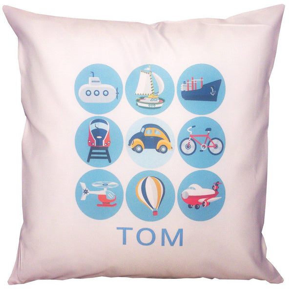 Personalised Name Cushion - Planes, Trains & Automobiles Design