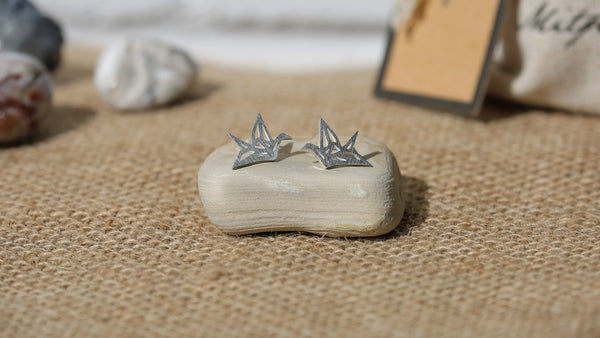 Pair of Stainless Steel Paper Crane Earrings + Canvas Gift Bag - Mitpaw