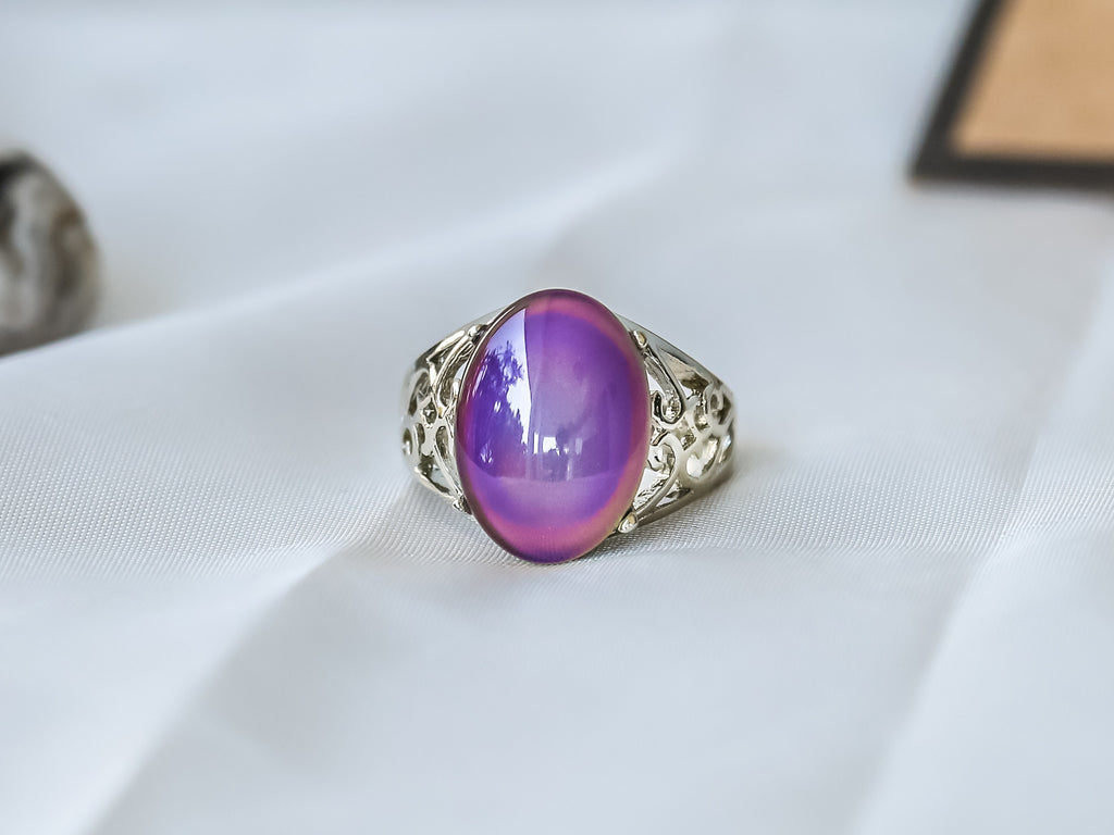 Limited Edition Borderless Oval Stone Mood Ring + Canvas Gift Bag - Mitpaw