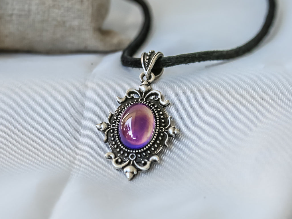 Bohemian Silver Sun Shaped Mood Pendant Necklace