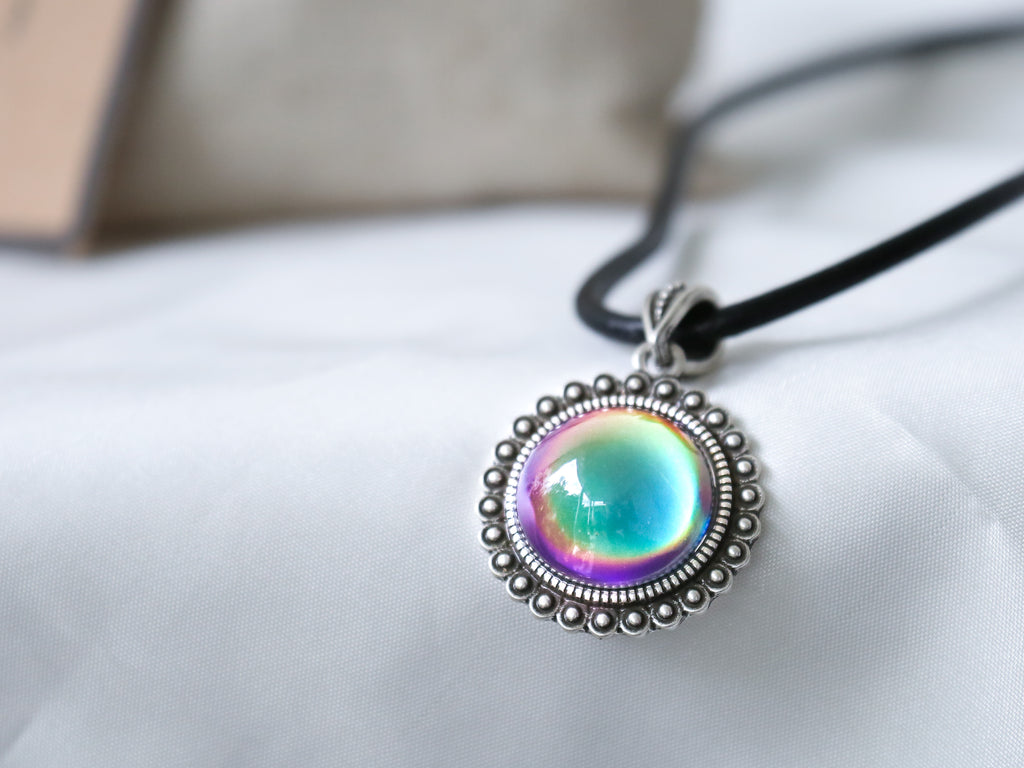 Bohemian Silver Circle Drop Shaped Mood Pendant Necklace