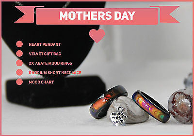 Mothers Day Special 2x Genuine Black Agate Colour Changing Mood Rings + More !! - Mitpaw