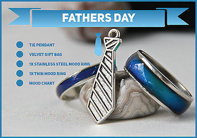 Fathers Day Special 1x Stainless Steel Mood Ring & 1x Thin Mood Ring !! + More - Mitpaw