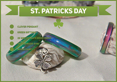 St. Patricks Day Special 2x Green Agate & Thin Colour Changing Mood Rings +More! - Mitpaw