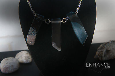 Natural Black Agate Stone Necklace with 925 Sterling Silver Chain - Mitpaw