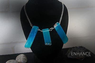 Natural Blue Agate Stone Necklace with 925 Sterling Silver Chain - Mitpaw