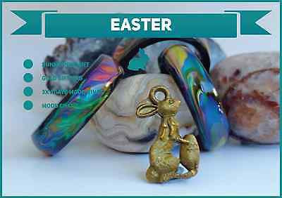 Easter Special 3x Black Agate Colour Changing Mood Rings + FREE Bunny Pendant !! - Mitpaw
