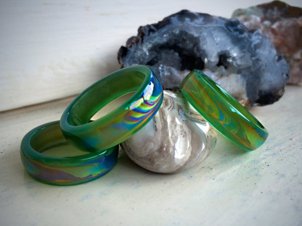Genuine Green Agate Colour Changing Mood Ring