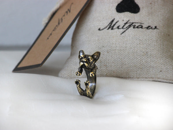Adjustable Antique Bronze French Bulldog Ring + Free Gift Bag