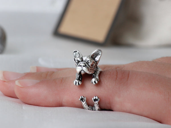 Adjustable Antique Silver French Bulldog Ring + Free Gift Bag