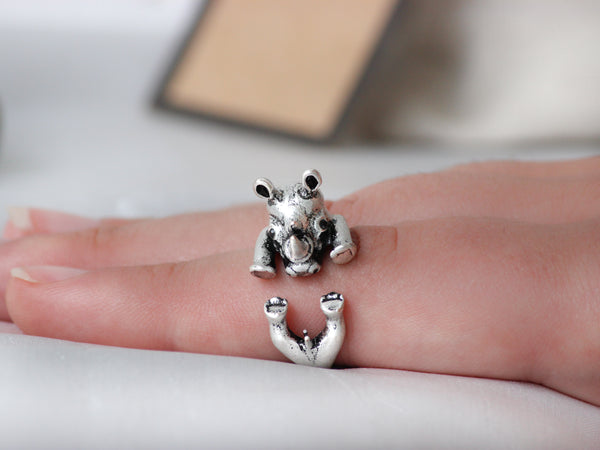Adjustable Antique Silver Rhino Ring + Free Gift Bag