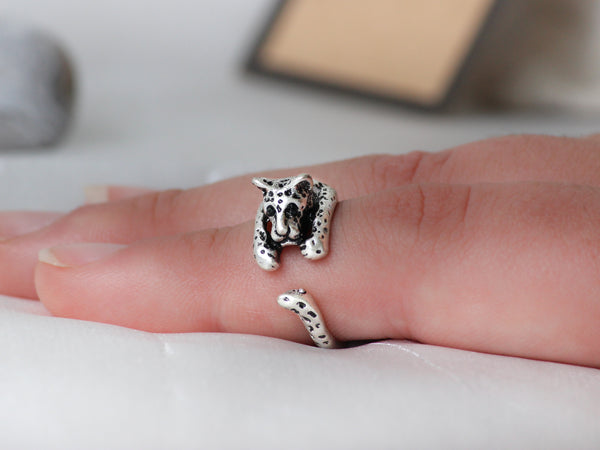 Adjustable Antique Silver Leopard Ring + Free Gift Bag