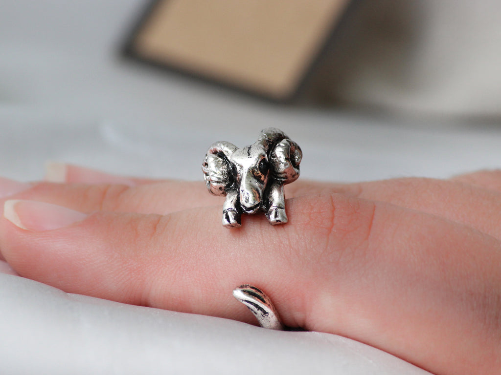 Adjustable Antique Silver Ram Ring + Free Gift Bag - Mitpaw