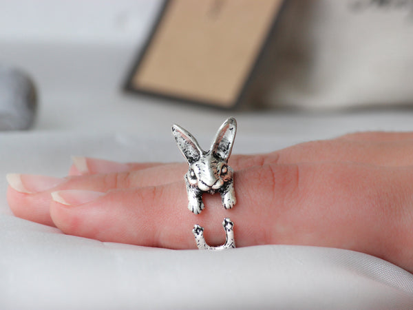 Adjustable Antique Silver Bunny Ring + Free Gift Bag