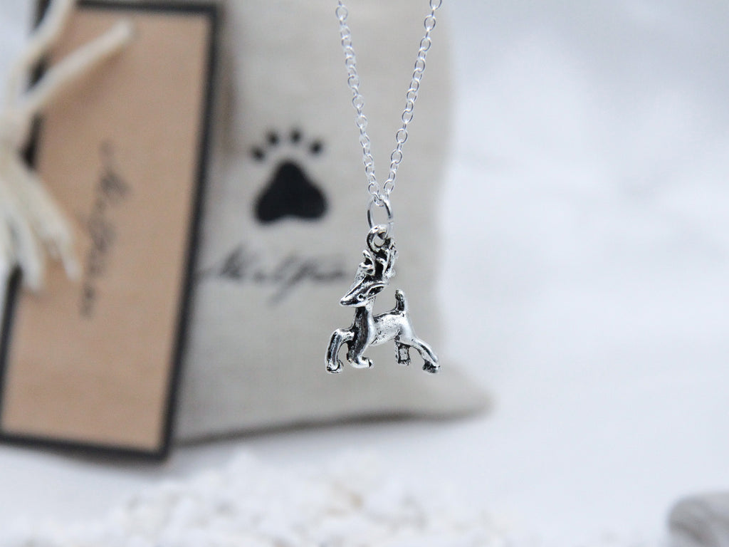 Silver Reindeer Pendant Necklace with 925 Silver Chain - Mitpaw