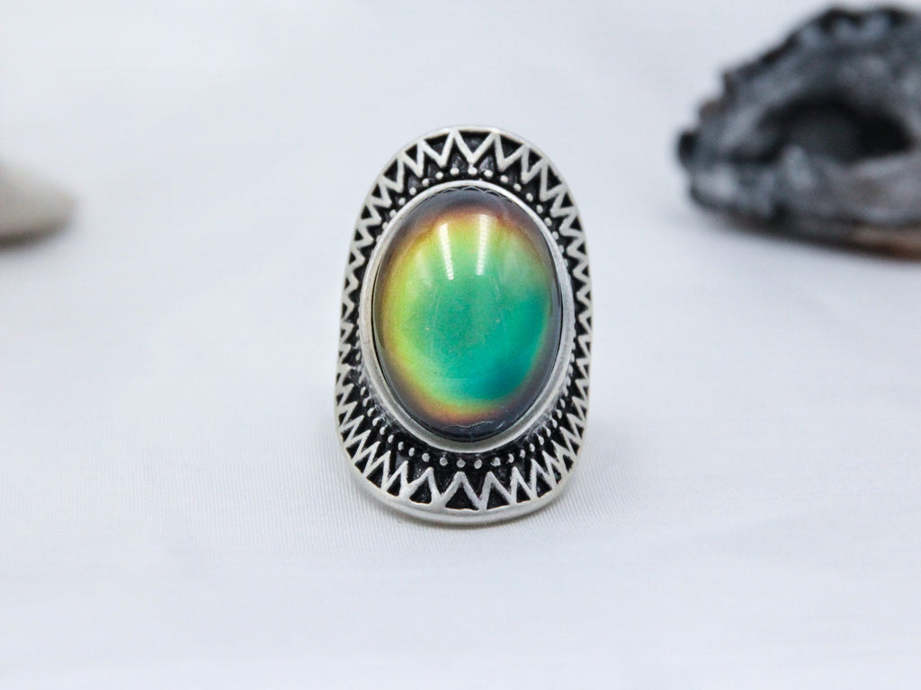 Antique Silver Plating Oval Stone Mood Ring - Mitpaw