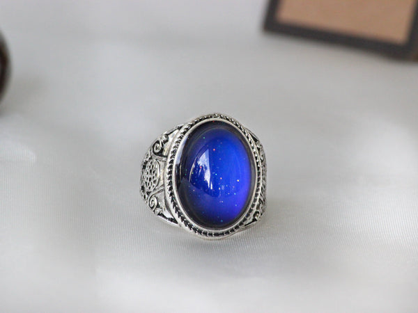 Antique Silver Plating Spiritual Oval Stone Mood Ring