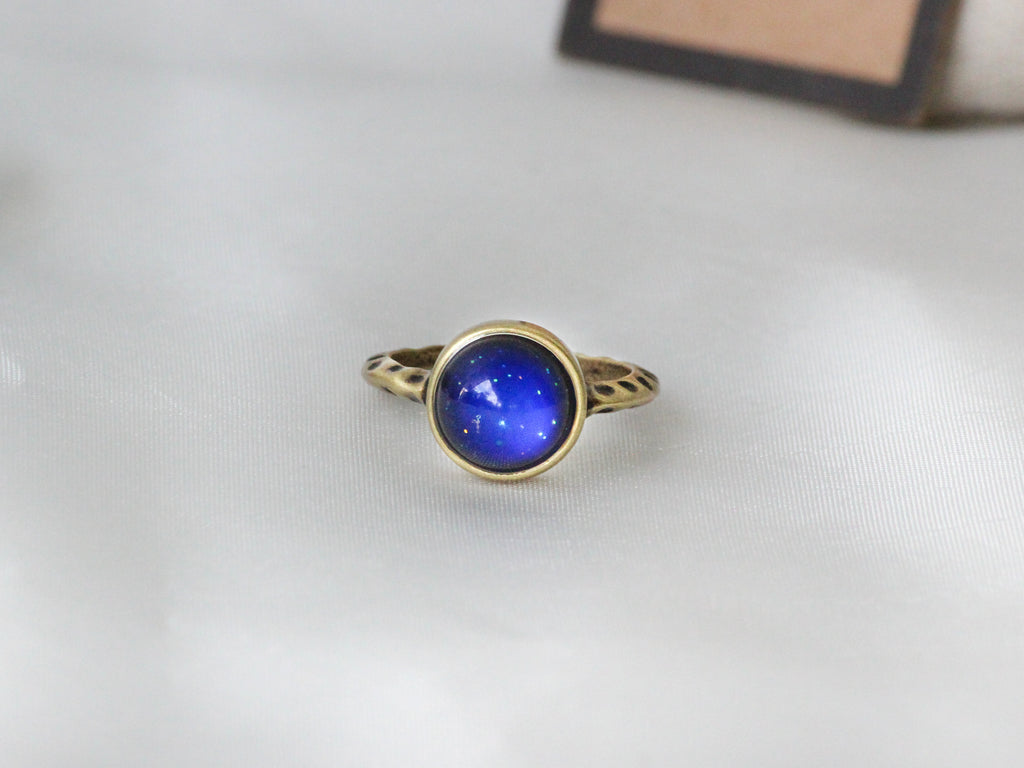 Antique Gold Plating Circle Stone Mood Ring - Mitpaw