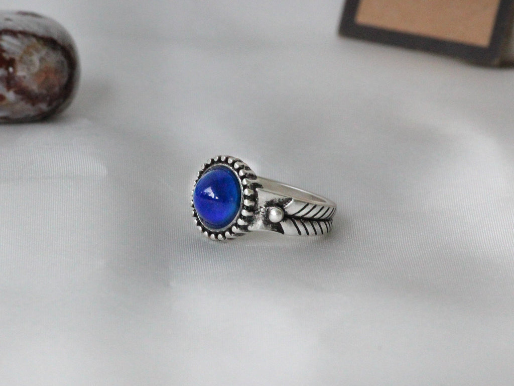 Antique Silver Plating Decorative Circle Stone Mood Ring