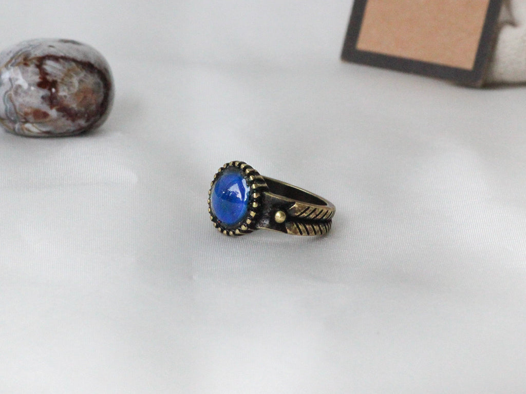 Antique Gold Plating Decorative Circle Stone Mood Ring - Mitpaw